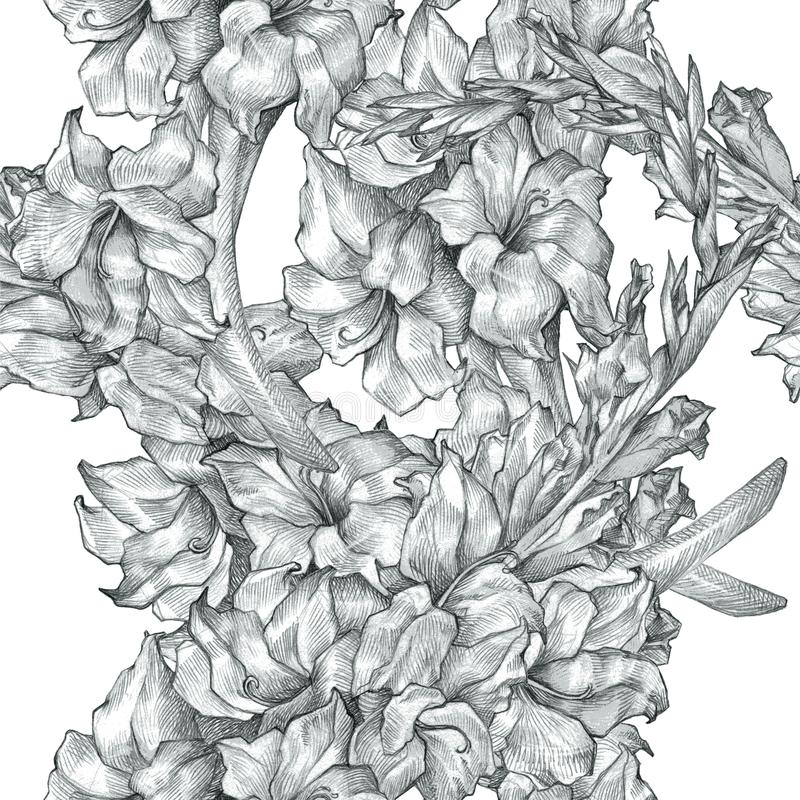 Botanical floral flower pencil drawing sketch seamless ornate pattern black and white texture background for invitations. Ornate backdrop perfect for invitations vector illustration