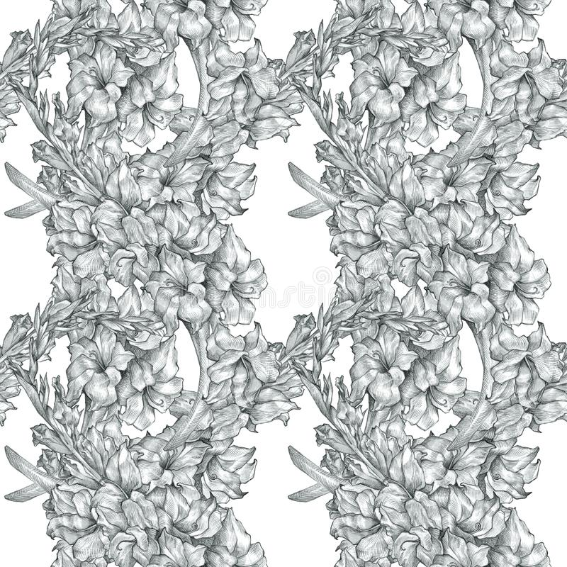 Botanical floral flower pencil drawing sketch seamless ornate pattern black and white texture background for invitations stock illustration