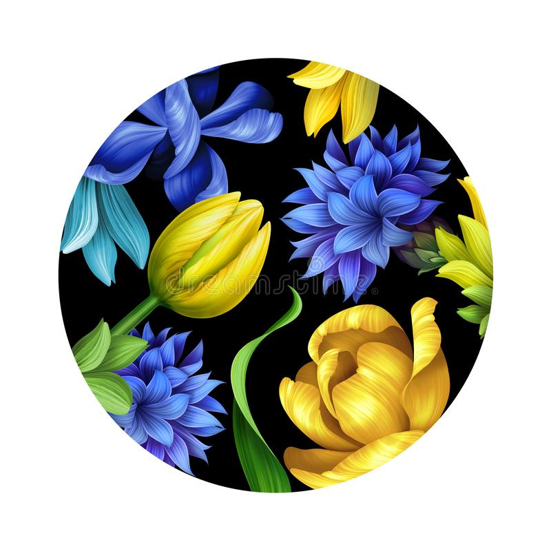 Botanical floral illustration, nature ornament, wild flowers, isolated on black background, blue cornflower, yellow tulip, round stock illustration