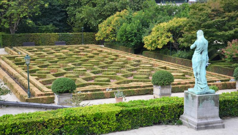Botanical garden of Brussels with old sculptures and rotunda stock photo