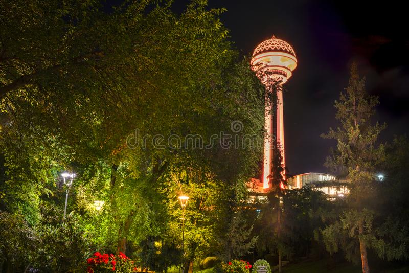 Botanical Garden in the evening and Atakule Tower in background, Ankara, Turkey stock photos