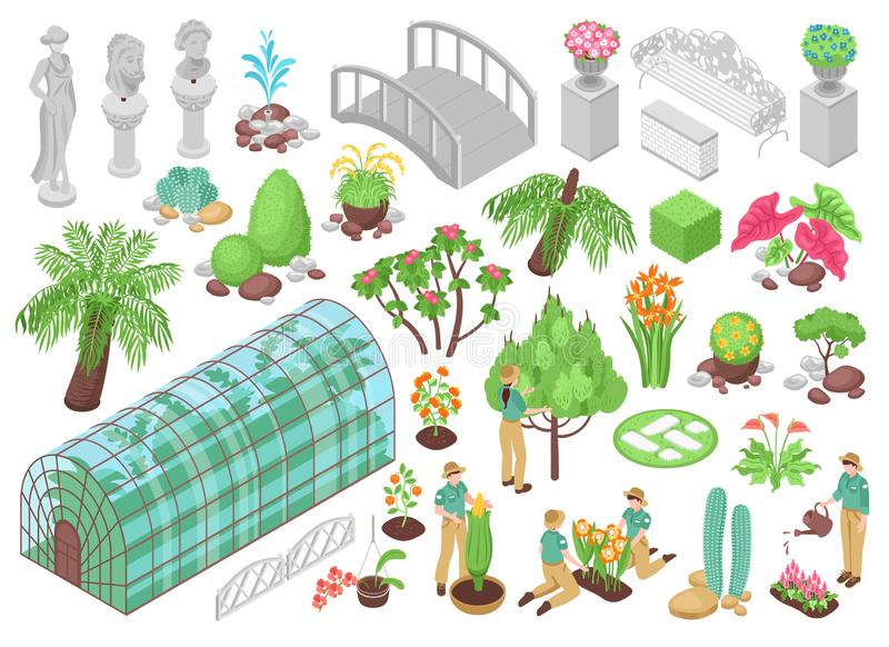 Botanical Garden Icons Set. Isometric icons set with various trees plants flowers and decorations for botanical garden isolated on white background 3d vector vector illustration