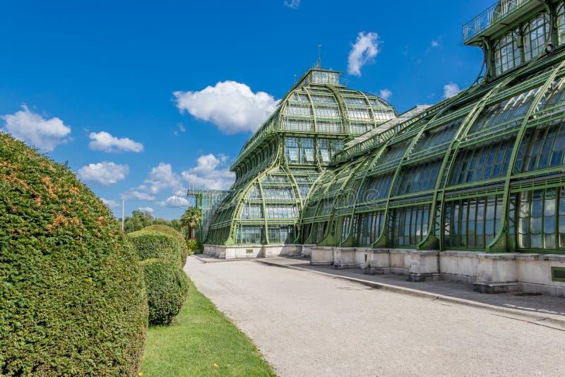 Botanical Garden Palmenhaus in the Palace Garden of Schonbrunn Palace, Vienna, Austria. Austria, Vienna - September 3, 2019: Botanical Garden Palmenhaus in the stock images