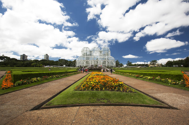Botanical Gardens in Curitiba, Brazil. A wide angle capture of the beautiful grounds and botanical garden building in Curitiba, Brazil in South America royalty free stock photos