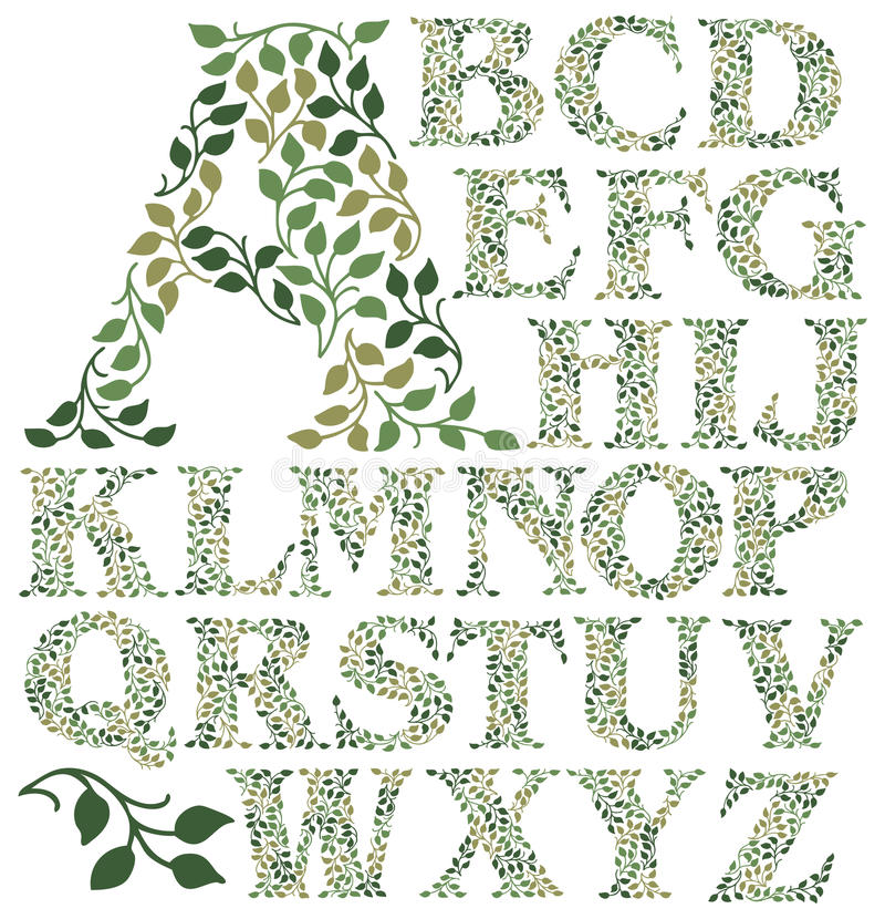 Botanical Leaves Alphabet/eps. Hand-drawn alphabet of leafy green vines in shades of green. suitable for drop caps or monograms on printed pieces such as wedding royalty free illustration
