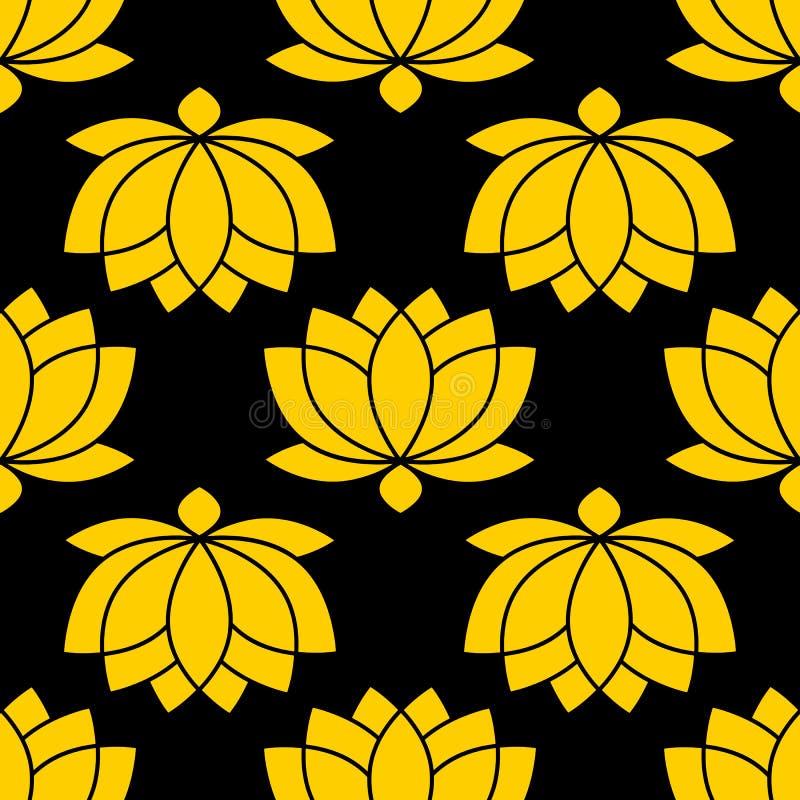 Botanical Lotus flower seamless pattern vector illustration. On black background stock illustration