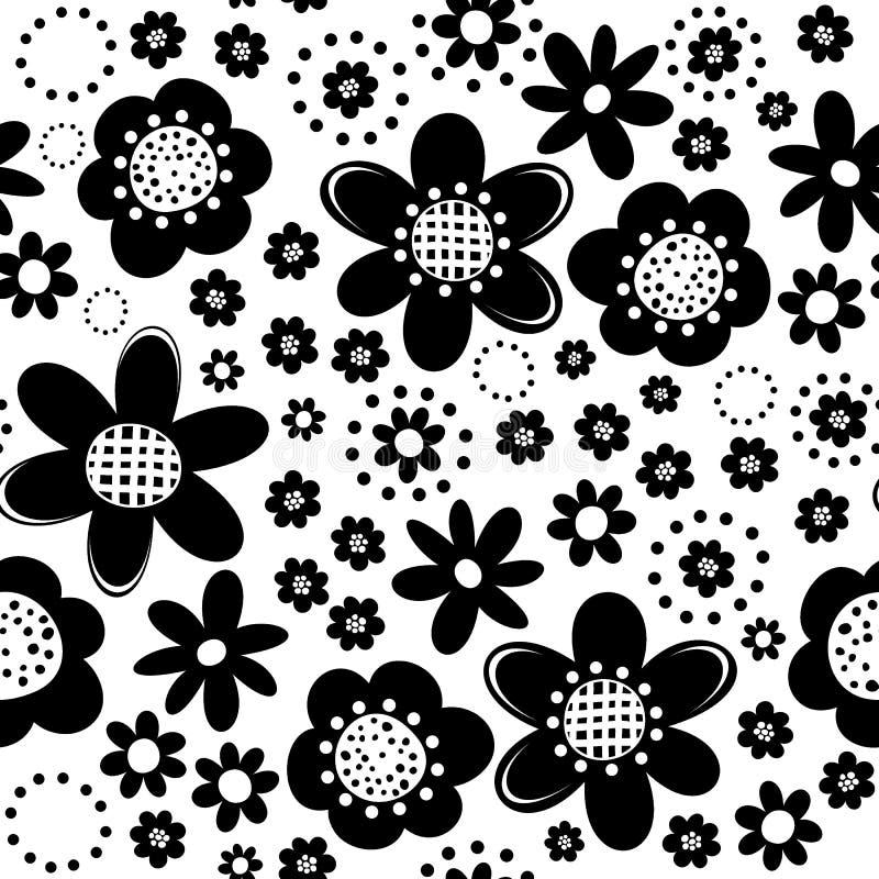 Botanical monochrome seamless pattern vector illustration