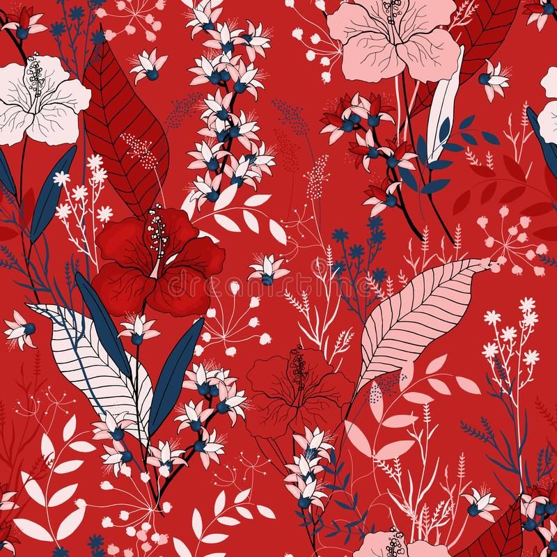 Vintage background. Wallpaper. Hand drawn. Vector illustration. Botanical motifs. Isolated seamless flower pattern. Vintage background. Wallpaper. Hand drawn royalty free illustration