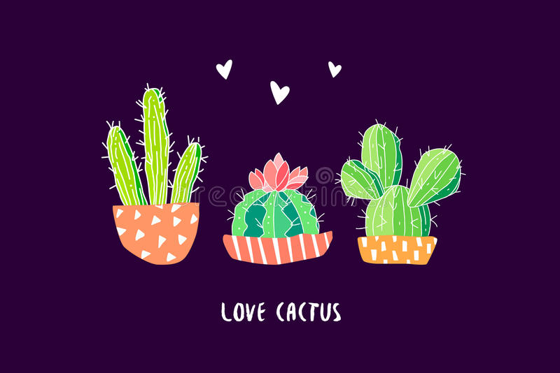 Botanical postcard with color cactus and hearts on black background. Succulent in doodle style. Vector vector illustration