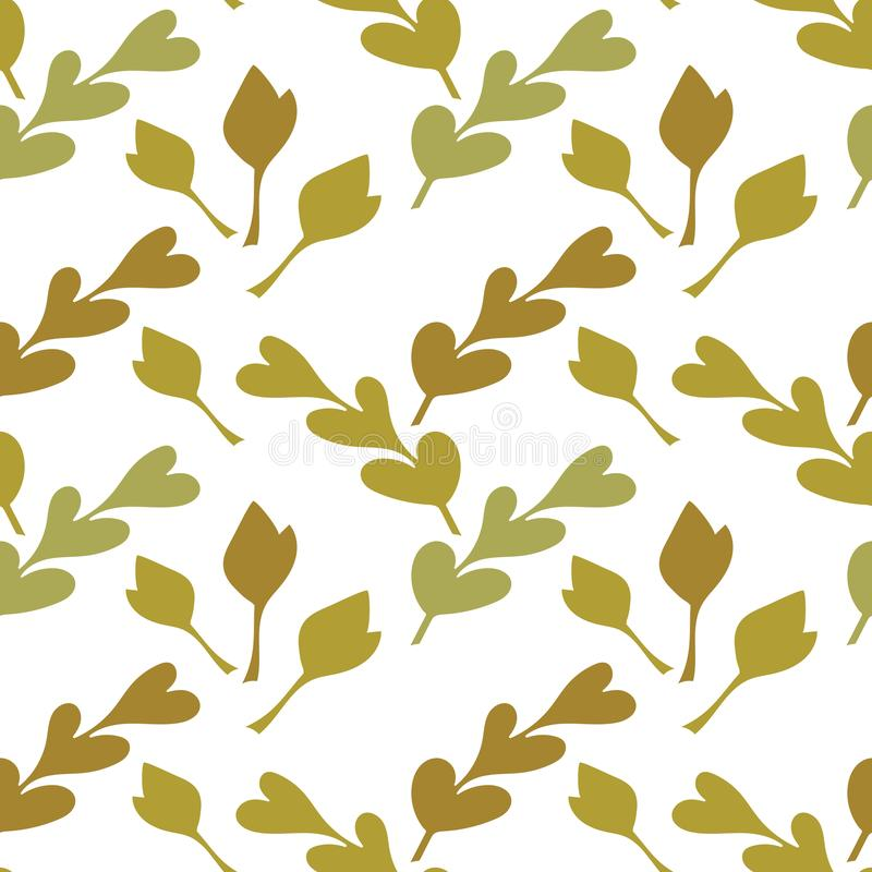 Botanical seamless background with green leaf shapes . Monochrome, Decorative texture for fabric, Wallpaper, stationery, bedding stock illustration