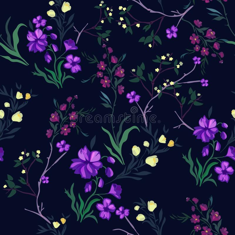 Botanical seamless pattern with cherry and flowers, vector motifs for fabric print and embroidery. vector illustration