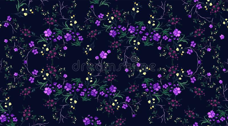 Botanical seamless pattern with cherry and flowers, vector motifs for fabric print and embroidery. stock illustration