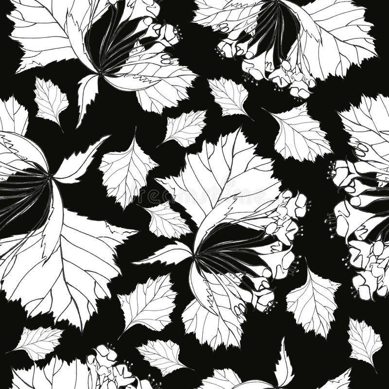 Botanical seamless pattern with cherry twigs on a black background. For the production and design of textiles and paper, wedding decor and invitations vector illustration