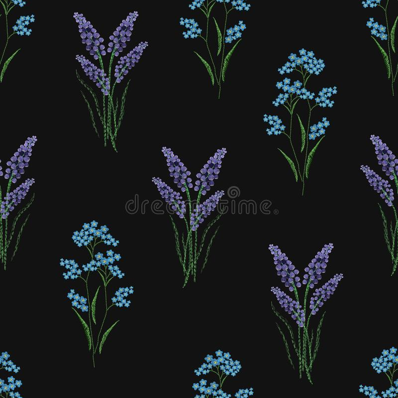 Botanical seamless pattern with embroidered blooming lavender and forget-me-not flowers on black background. Backdrop stock illustration