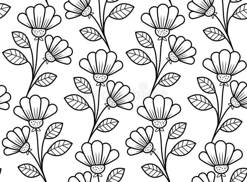 Botanical seamless pattern, hand-drawn flowers in black and white royalty free illustration