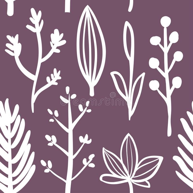 Botanical seamless pattern with herbs stock illustration