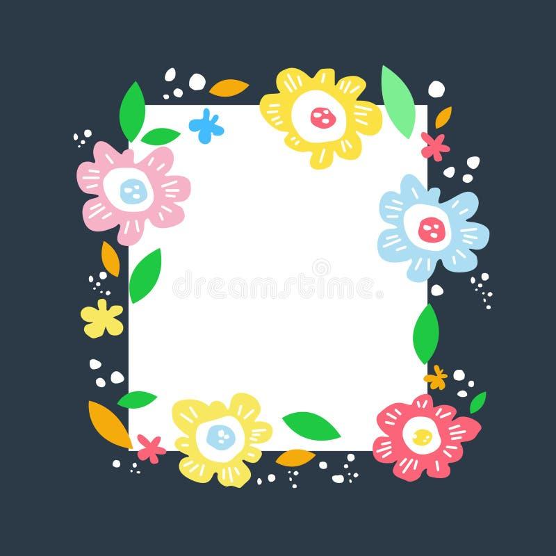 Botanical text circle hand drawn vector template. Floral text circle frame hand drawn flat layout. royalty free illustration