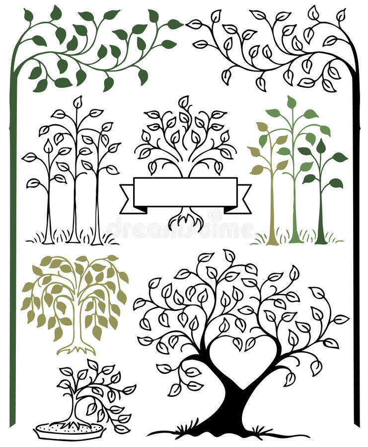 Botanical Tree Set/eps stock illustration