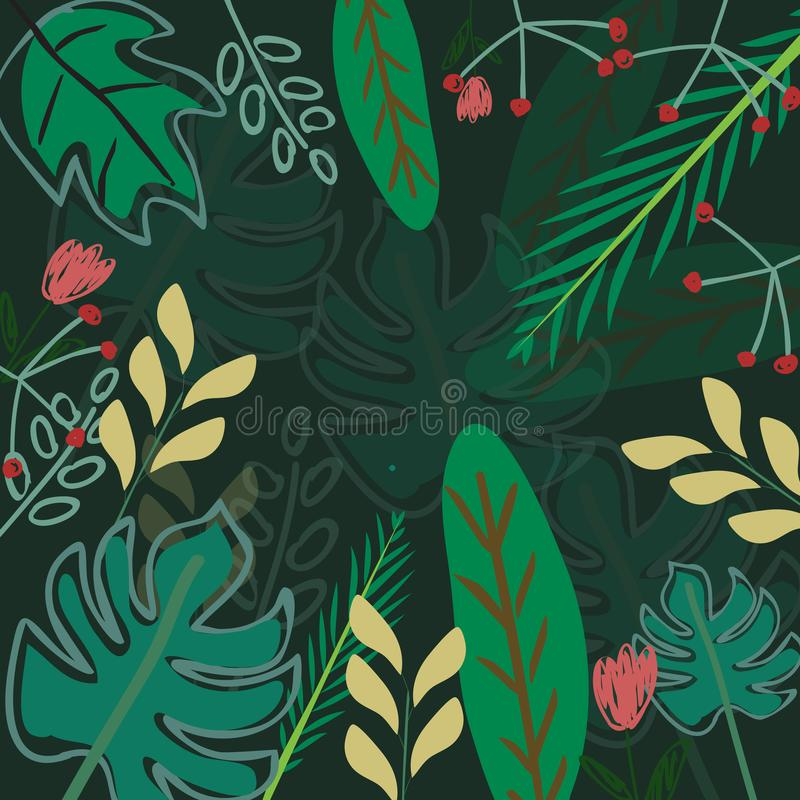Botanical tropical green leave pattern. Happy summer tropical forest jungle scene, illustration vector by freehand stock illustration