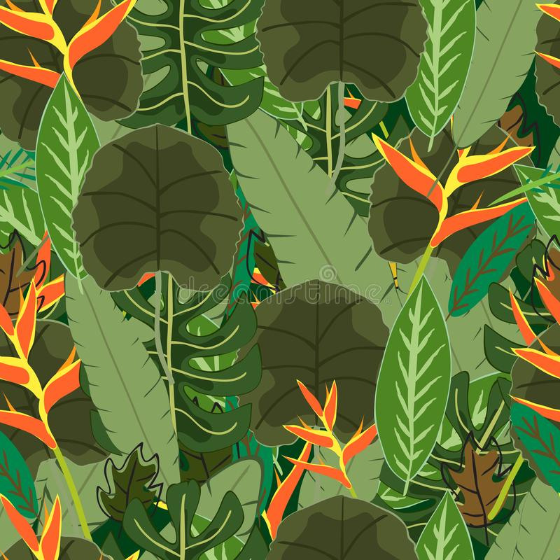Botanical tropical green leave seamless pattern stock illustration
