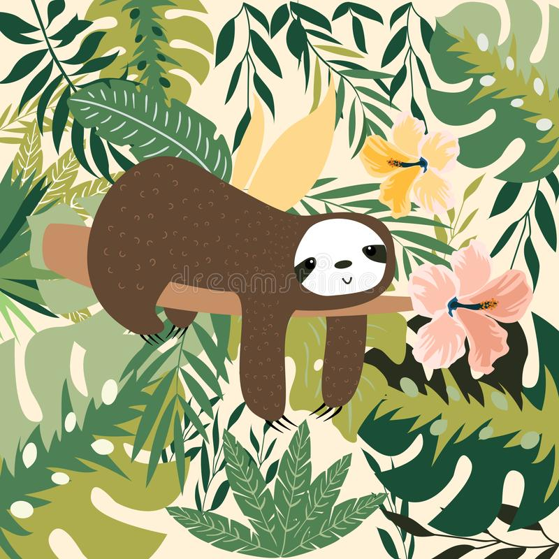 Sloth on the branch. Vector illustration with frame of leaves, flowers background. Greeting card in tropical style. stock illustration