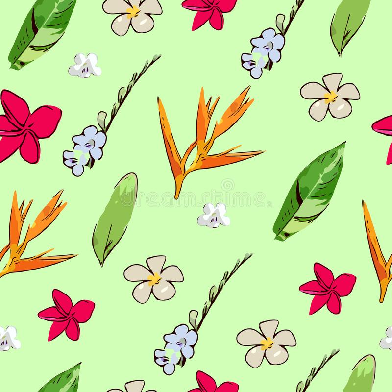 Botanical tropical  leave and flower seamless pattern royalty free illustration