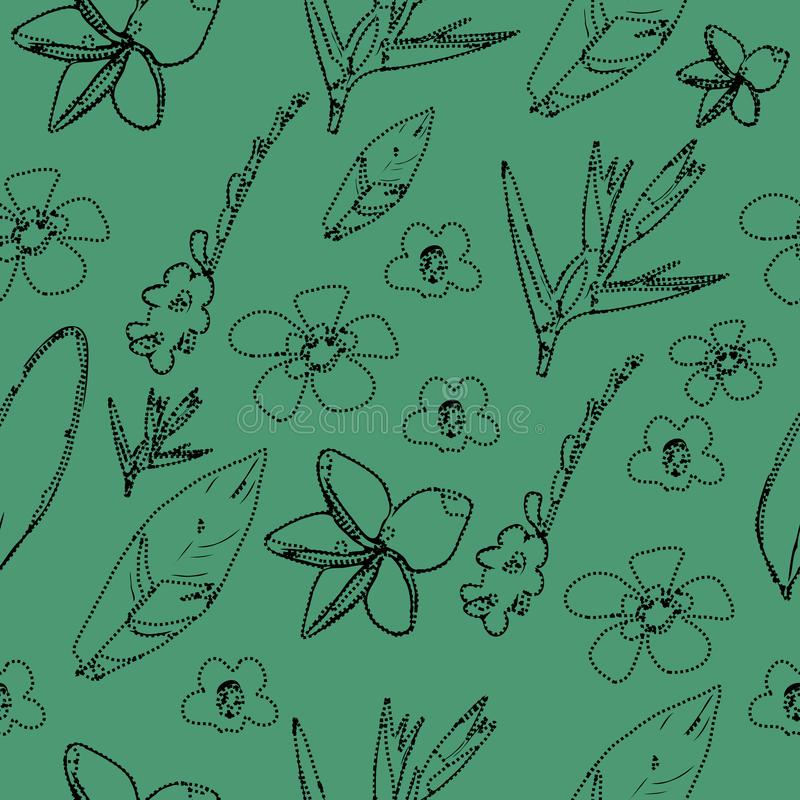 Botanical tropical  leave and flower seamless pattern vector illustration