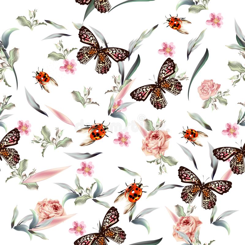 Botanical vector pattern with hand drawn butterflies and flower vector illustration