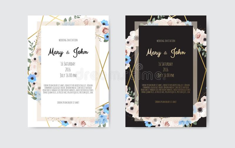 Botanical wedding invitation card template design, white and pink flowers on white and black background. royalty free illustration