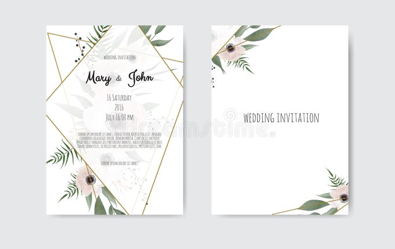Botanical wedding invitation card template design, white and pink flowers. Vector template set. vector illustration