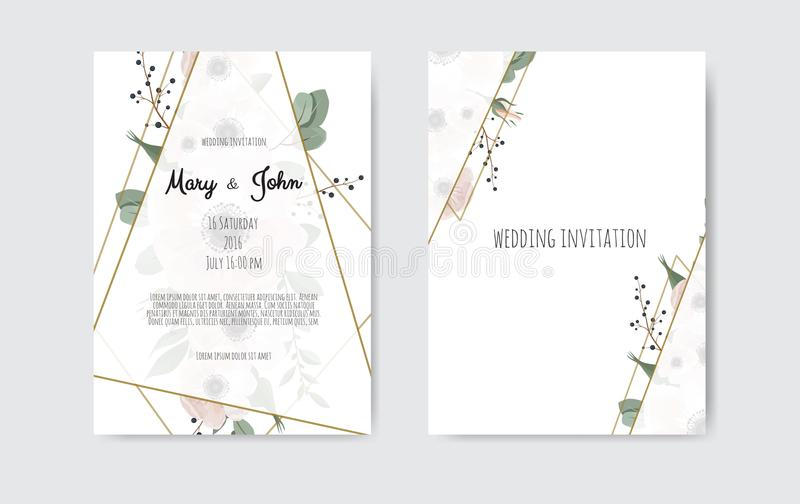 Botanical wedding invitation card template design, white and pink flowers. Vector template set. royalty free illustration