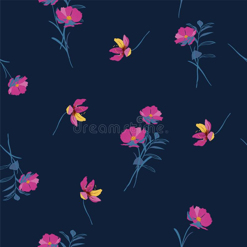 Botanical and wild flowers with leaves pattern on navy blue vector illustration