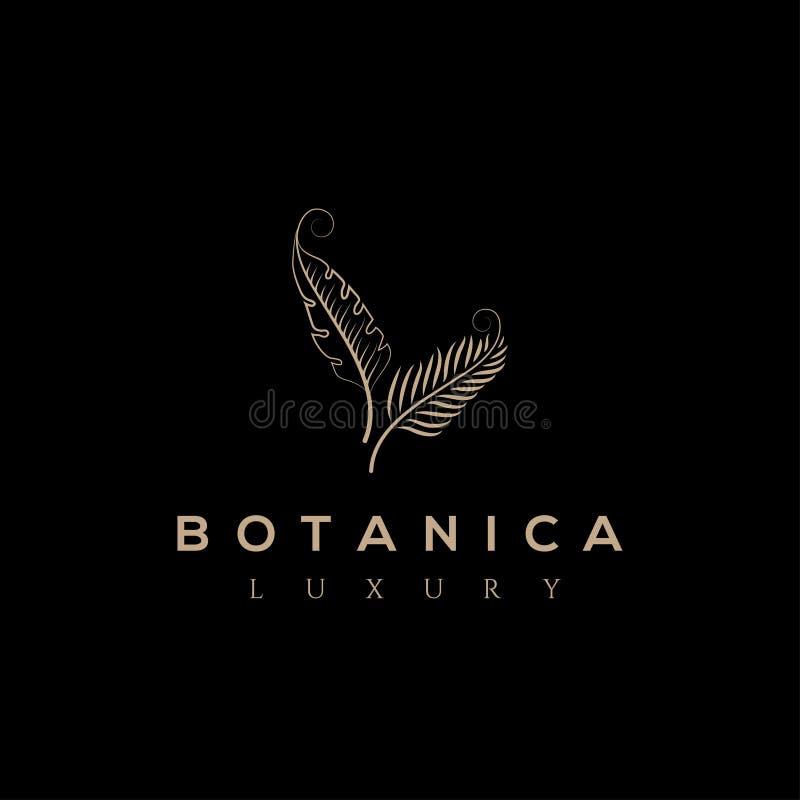 Botanics vector logo. Bio cosmetics emblem. Organic product sign. Leaf illustration royalty free illustration