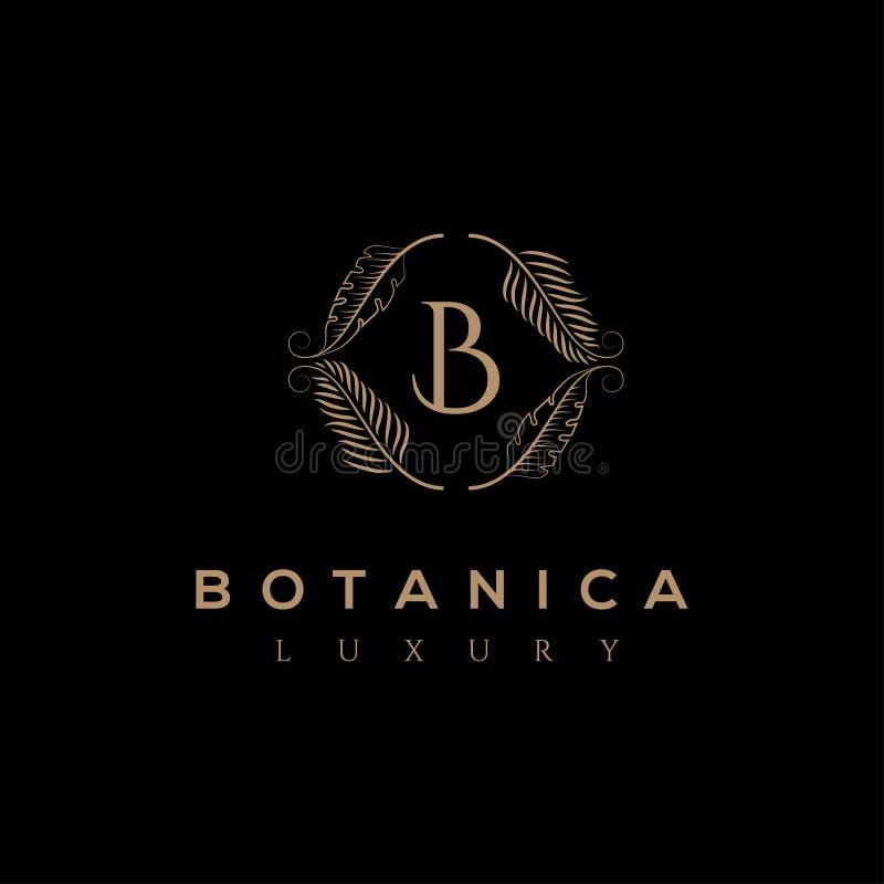Botanics vectorembleem Bioschoonheidsmiddelenembleem Biologisch productteken De illustratie van het blad royalty-vrije illustratie