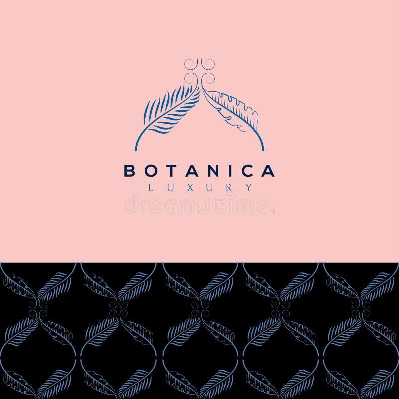 Botanics vectorembleem Bioschoonheidsmiddelenembleem Biologisch productteken De illustratie van het blad stock illustratie