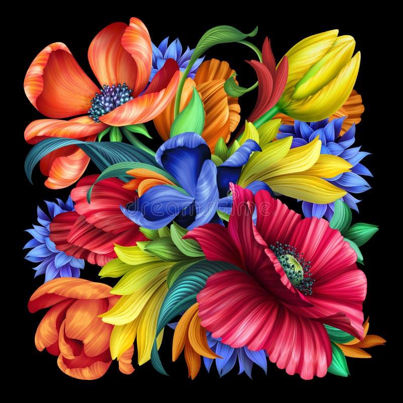 Botaniczna ilustracja, bukiet dzicy łąka kwiaty odizolowywający na czarnym tle, czerwony maczek, błękitny chabrowy, żółty tulipan fotografia royalty free