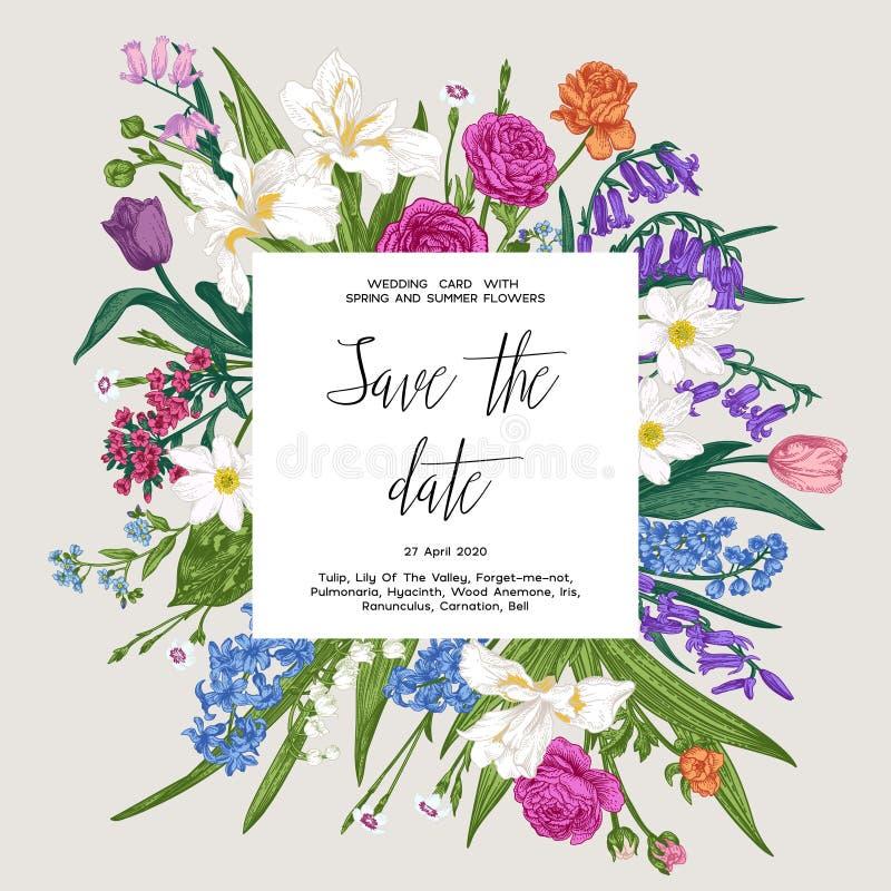 Botaniczna karta Wiosny i lata ogródu kwiaty royalty ilustracja