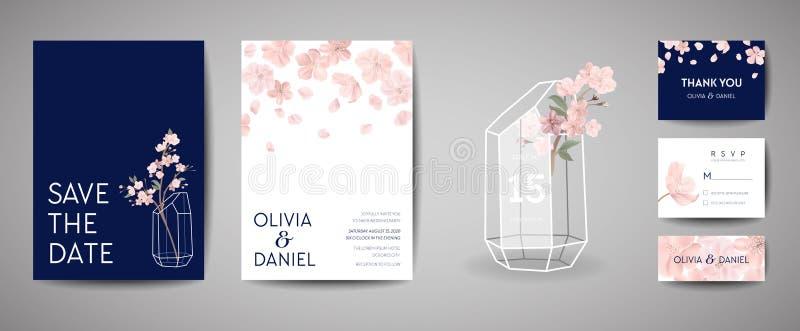 Botaniczna retro ślubna zaproszenie karta, rocznika Save, szablonu projekt Sakura kwiaty i liście data, wiśnia ilustracji