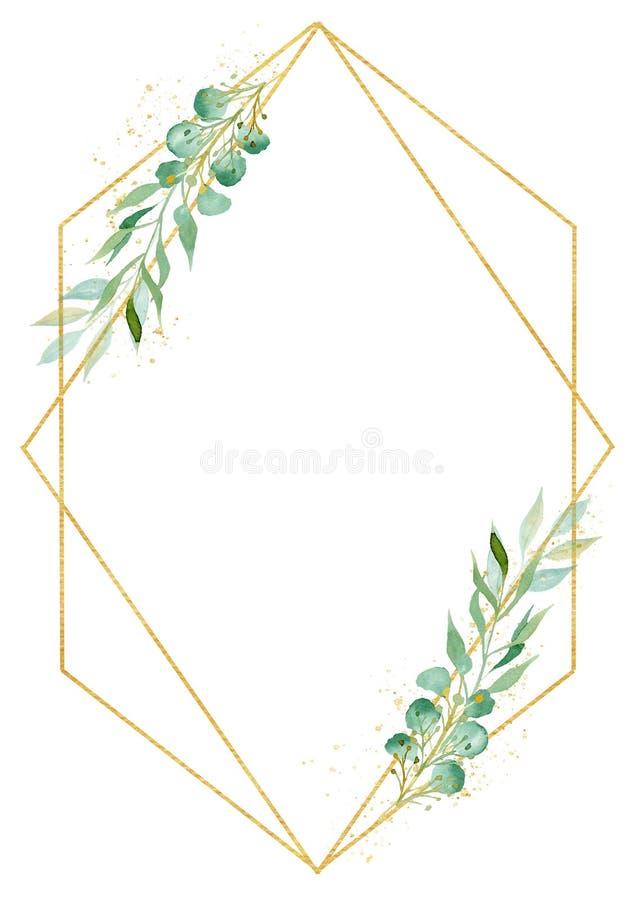 Botanicznego diamentowego kształta akwareli raster dekoracyjna ramowa ilustracja ilustracja wektor
