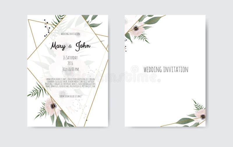 Botaniczni ślubni zaproszenie karty szablonu projekta, bielu i menchii kwiaty, Wektorowy szablonu set ilustracja wektor