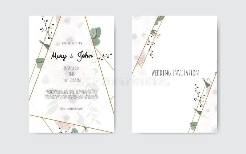 Botaniczni ślubni zaproszenie karty szablonu projekta, bielu i menchii kwiaty, Wektorowy szablonu set royalty ilustracja