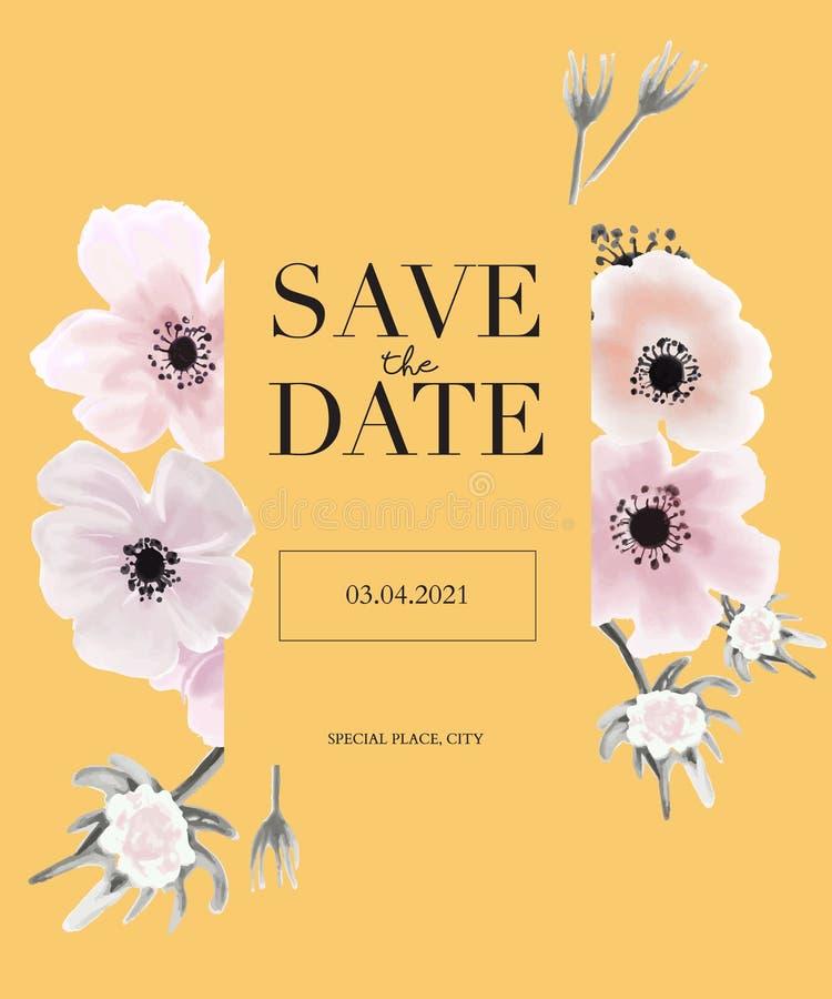 Botaniczni anemonies poślubia zaproszenie szablonu karcianego projekt, żółty tło z oferty róży menchii akwarelą kwitną ilustracji