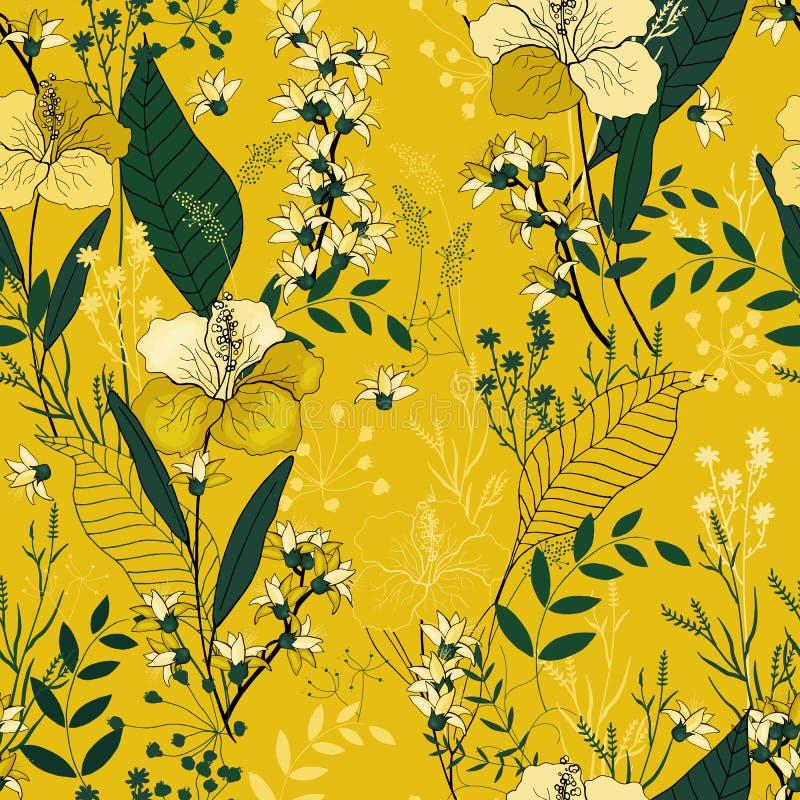 Botaniczni motywy Odosobniony bezszwowy kwiatu wzór Rocznika plecy royalty ilustracja