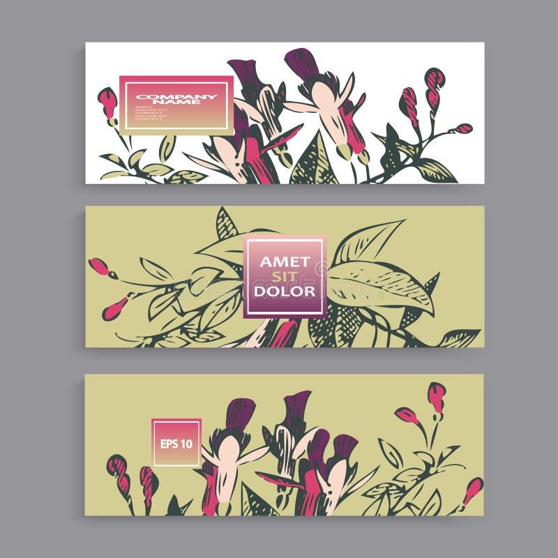 Botaniczny ślubny zaproszenie karty szablonu projekt, ręka rysujący liście, fuksja kwiaty, i, pastelowego koloru rocznik wiejski  ilustracja wektor