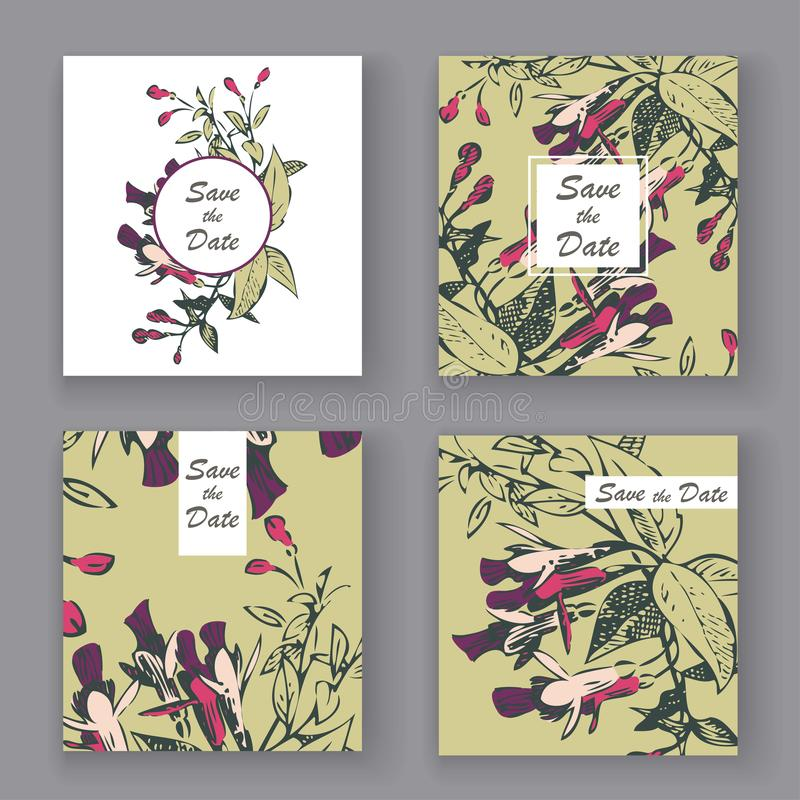 Botaniczny ślubny zaproszenie karty szablonu projekt, ręka rysujący liście, fuksja kwiaty, i, pastelowego koloru rocznik wiejski  royalty ilustracja
