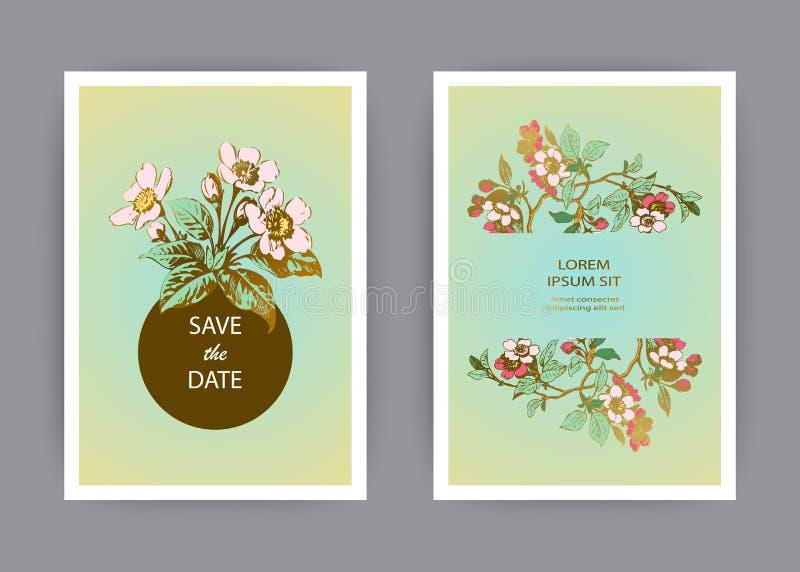 Botaniczny ślubny zaproszenie karty szablonu projekt, ręka rysujący Sakura kwiaty i liście na gałąź, rocznika wiejski czereśniowy royalty ilustracja