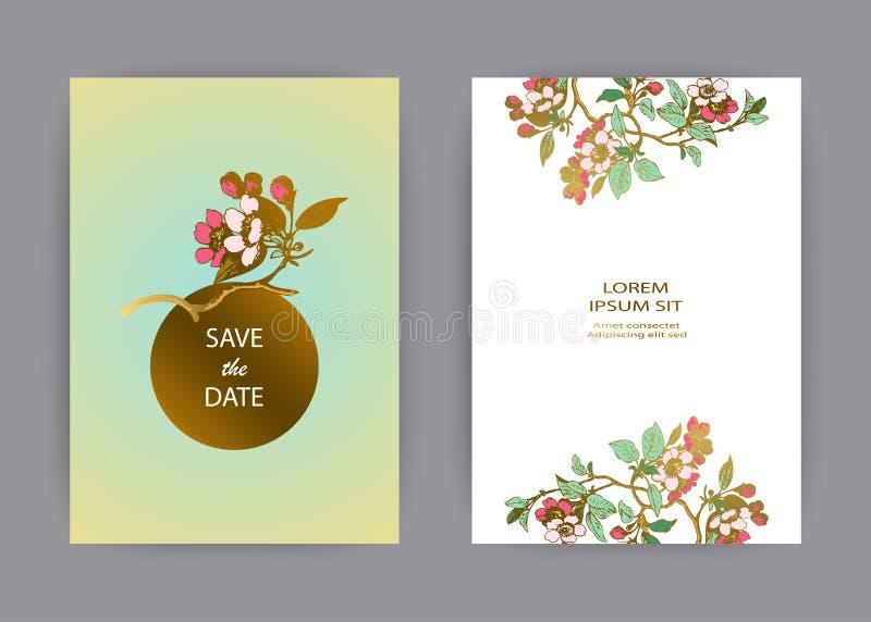 Botaniczny ślubny zaproszenie karty szablonu projekt, ręka rysujący Sakura kwiaty i liście na gałąź, rocznika wiejski czereśniowy ilustracja wektor
