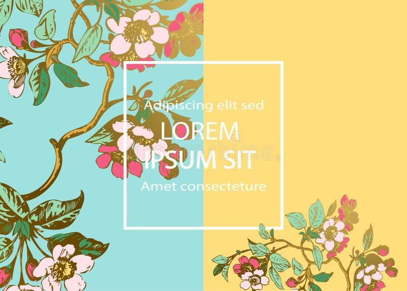 Botaniczny ślubny zaproszenie karty szablonu projekt, Sakura kwiaty i liście na gałąź, rocznika wiejski czereśniowy okwitnięcie n royalty ilustracja