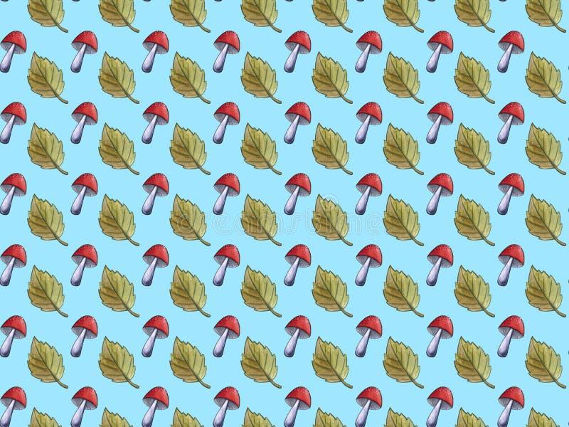 Botaniczny bezszwowy wzór z czerwienią rozrasta się amanita Naturalna element ręka malująca z akwarelą Kwiecisty lasowy jesień sp ilustracja wektor