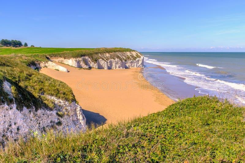 Botanik-Bucht ein goldener Strand auf dem Thanet, Kent lizenzfreies stockbild